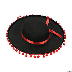 Black Flamenco Hat with Ball Fringe