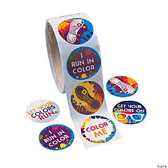 Color Run Roll of Stickers