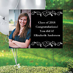 Black Graduation Custom Photo Yard Sign