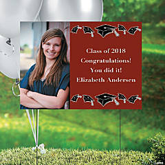 Burgundy Class of 2014 Graduation Custom Photo Yard Sign