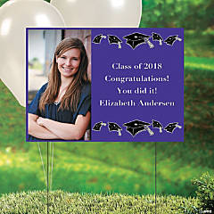 Purple Graduation Custom Photo Yard Sign