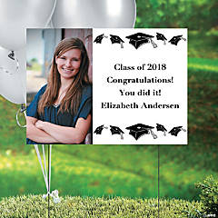 White Graduation Custom Photo Yard Sign