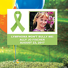 Lime Green Awareness Ribbon Custom Photo Yard Sign