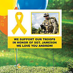 Yellow Awareness Ribbon Custom Photo Yard Sign