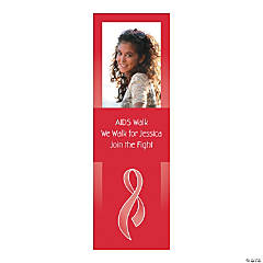 Small Red Awareness Ribbon Custom Photo Vertical Banner