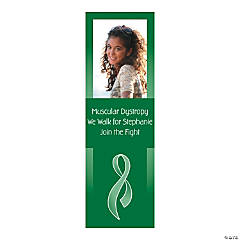 Small Green Awareness Ribbon Custom Photo Vertical Banner