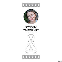 Small White Awareness Ribbon Custom Photo Vertical Banner