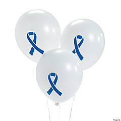 Blue Awareness Ribbon Latex Balloons