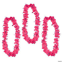 Hot Pink Tinsel Leis