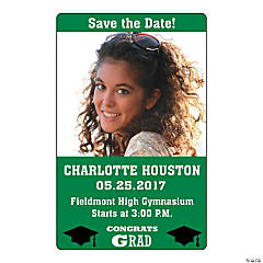 Green Congrats Grad Custom Photo Magnets