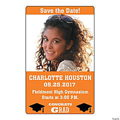 Orange Congrats Grad Custom Photo Magnets