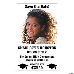 White Congrats Grad Custom Photo Magnets