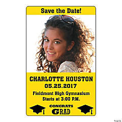 Yellow Congrats Grad Custom Photo Magnets