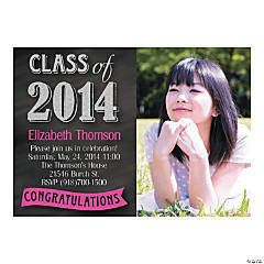 Class of 2014 Graduation Pink & Black Custom Photo Invitations