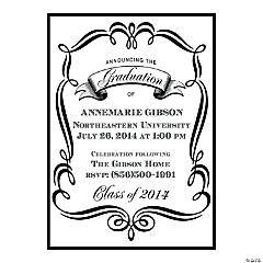Fancy Black & White Graduation Personalized Invitations