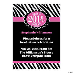 Class of 2014 Zebra Stripe Graduation Personalized Invitations