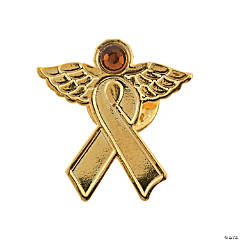 Gold Awareness Ribbon Angel Pins