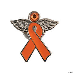 Orange Awareness Ribbon Angel Pins
