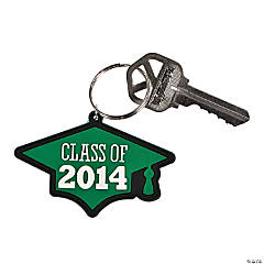"""Class of 2014"" Graduation Green Key Chains"