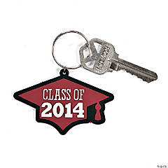 """Class of 2014"" Graduation Burgundy Key Chains"