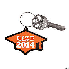 """Class of 2014"" Graduation Orange Key Chains"