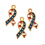 Goldtone Flag Ribbon Enamel Charms