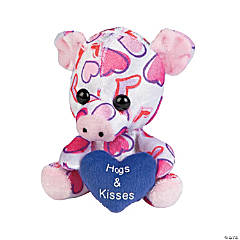 Plush Heart Print Valentine Pigs