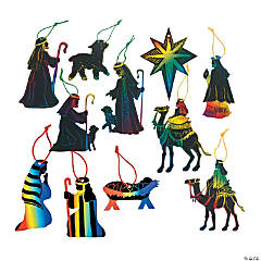 Magic Color Scratch Nativity Ornament Set