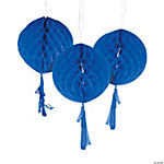 Blue Honeycomb Tissue Balls with Tassel