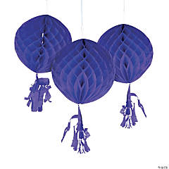 Purple Honeycomb Tissue Balls with Tassel