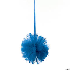Blue Tulle Pom-Pom Decorations