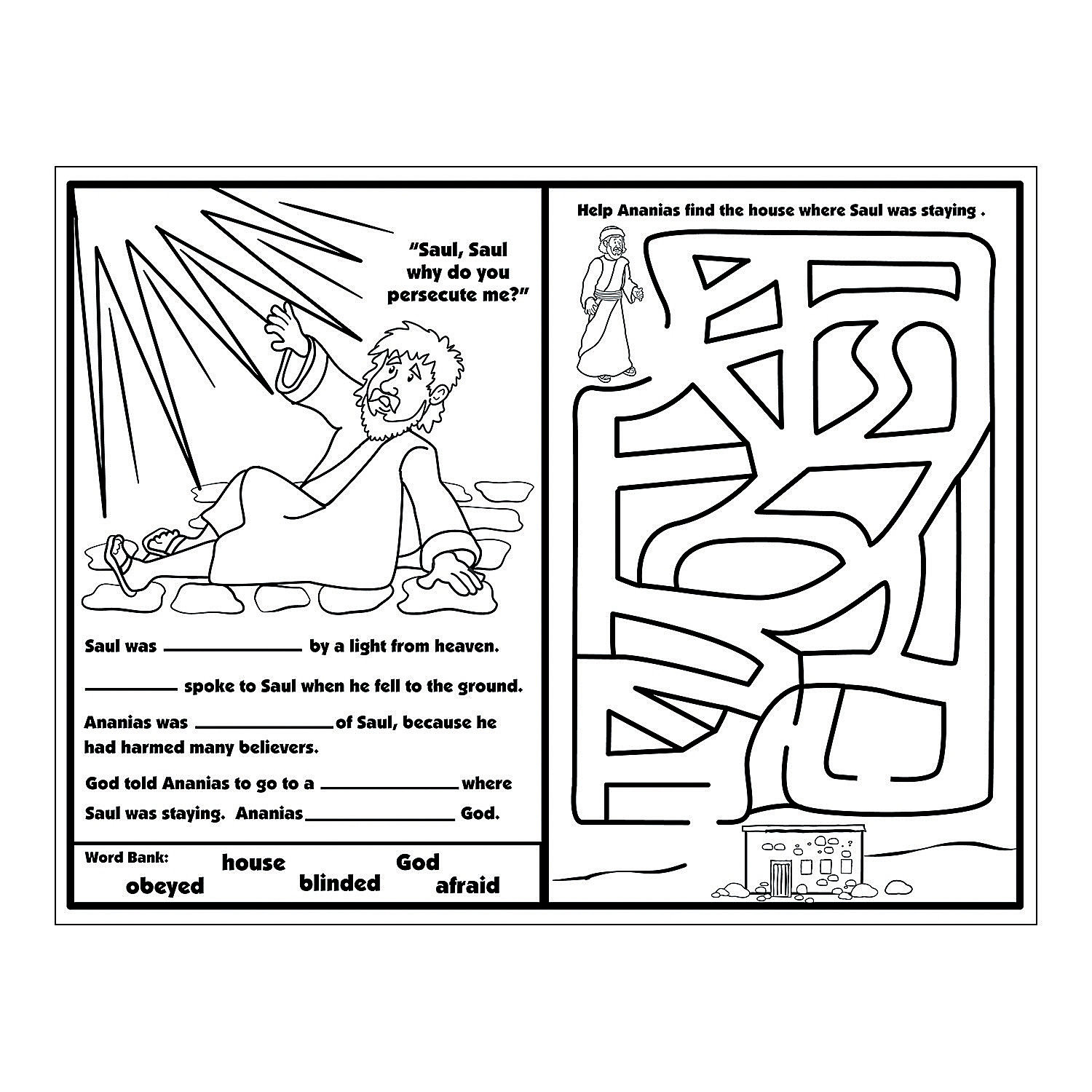 Ananias Helps Saul Activity Sheets, Activity Books