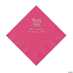 """Mr. & Mrs."" Personalized Hot Pink Luncheon Napkins"