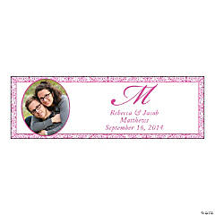 Hot Pink Small Custom Photo Wedding Banner