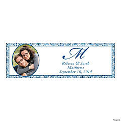 Blue Flourish Small Custom Photo Banner