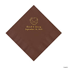 Hunter Wedding Personalized Brown Luncheon Napkins