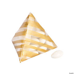 Gold Striped Pyramid Favor Boxes