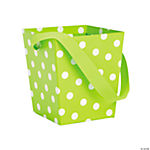 Lime Polka Dot Buckets with Ribbon Handle