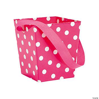 Hot pink polka dot buckets with ribbon handle for Pink polka dot decorations