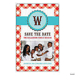 Gingham Save the Date Custom Photo Magnets
