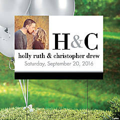 Modern Wedding Custom Photo Yard Sign
