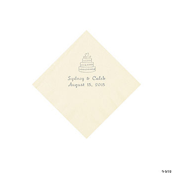 Ivory Wedding Cake Personalized Napkins