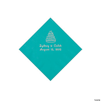 Turquoise Wedding Cake Personalized Napkins