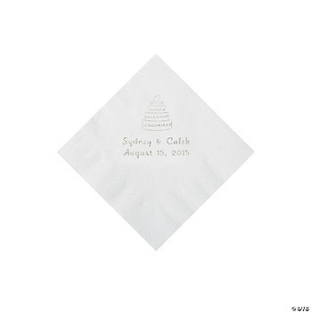 White Wedding Cake Personalized Napkins