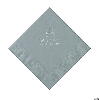 Silver Wedding Cake Personalized Napkins