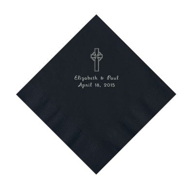 black Christian custom Wedding napkins