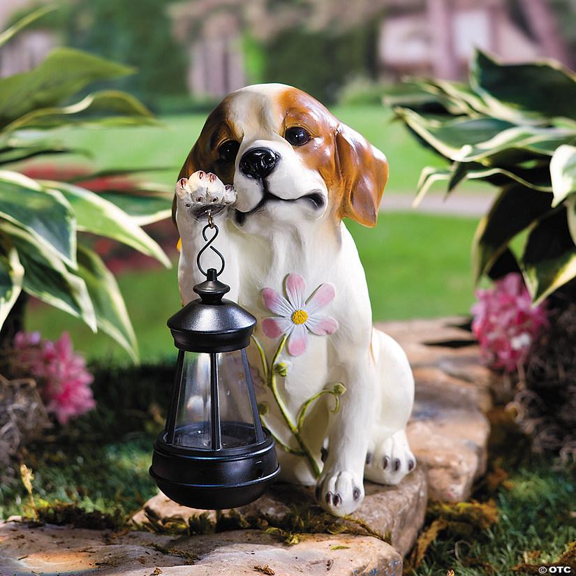 Puppy With Solar Lantern Garden Statue