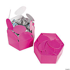 Hot Pink Flower Favor Boxes