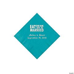 """Eat, Drink And Be Married"" Personalized Turquoise Beverage Napkins"