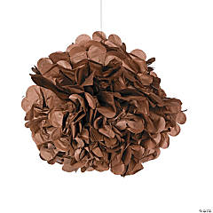 Chocolate Brown Pom-Pom Tissue Decorations